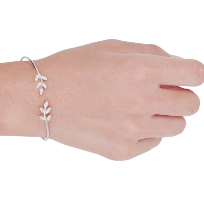 Women's Open Cuff Leaf Bracelet