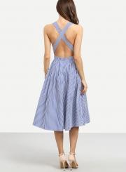 Women's Spaghetti Strap Cross Back Striped Midi Dresses