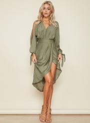 Women's V Neck Long Sleeve Asymmetric Midi Dresses