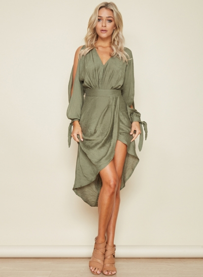 Women's V Neck Long Sleeve Asymmetric Midi Dresses