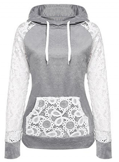 Women's Casual Long Sleeve Pockets Lace Splicing Hoodies