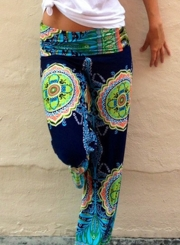 Women's Casual Floral Printed Straight Long Pants