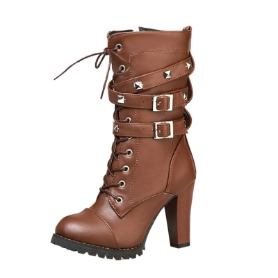 Women's Block Heels Side Zipper Boots with Rivet