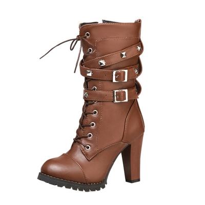 Women's Block Heels Side Zipper Boots with Rivet STYLESIMO.com