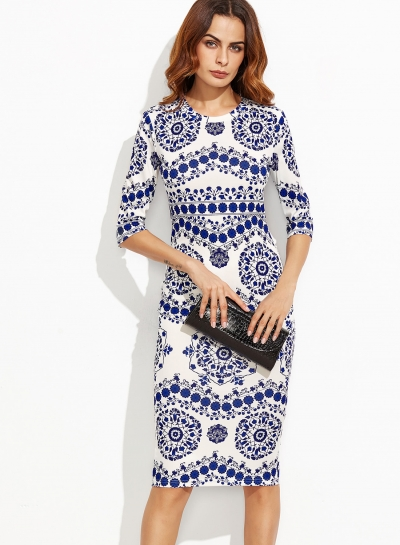 Women's Round Neck Half Sleeve Floral Printed Slim Midi Dresses