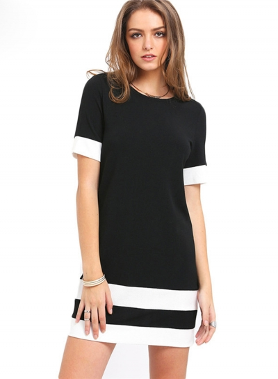 Women's Casual Round Neck Short Sleeve Solid Mini Dresses