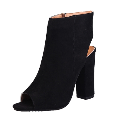 Women's Solid Peep Toe Side Zipper Block Heels Boots STYLESIMO.com