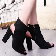 Women's Solid Peep Toe Side Zipper Block Heels Boots