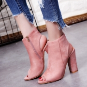 Women's Solid Peep Toe Side Zipper Block Heels Boots