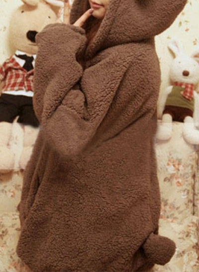 Women's Long Sleeve Zip Up Bear Ear Plush Hoodie STYLESIMO.com