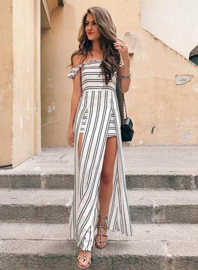Women's Strapless Off Shoulder High Slit Striped Dress