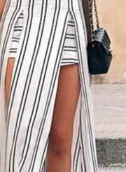 Women's Strapless Off Shoulder High Slit Striped Dress