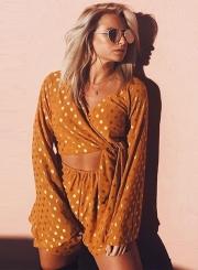Women's Fashion Polka Dots V Neck Long Sleeve Top Shorts 2 Piece Set
