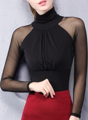 Women's Fashion Solid High Neck Long Sleeve Slim Fit Blouse