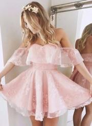 Women's Solid Strapless Off Shoulder A-line Cocktail Dress