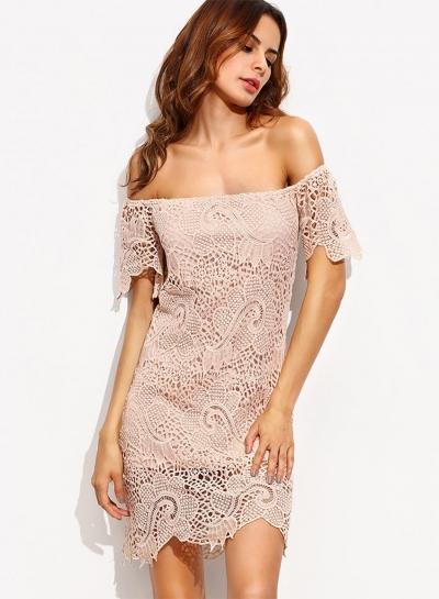 Women's Off Shoulder Slash Neck Lace Bodycon Dress