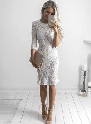 Women's Half Sleeve Lace Bodycon Club Dress