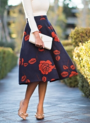 Women's High Waist Rose Print A-line Skirt