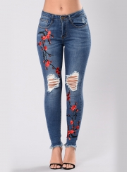 Women's Floral Embroidery Ripped Denim Pants