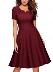 Women's Solid V Neck Short Sleeve Slim A-line Dress