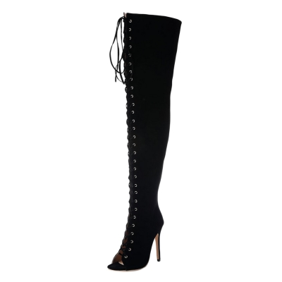 7d4ccc8dacaa Women s Peep Toe Lace up High Heels Over-the-knee Boots - STYLESIMO.com