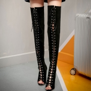 Women's Peep Toe Lace up High Heels Over-the-knee Boots