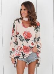 Women's Fashion Floral Print Choker Neck Blouse