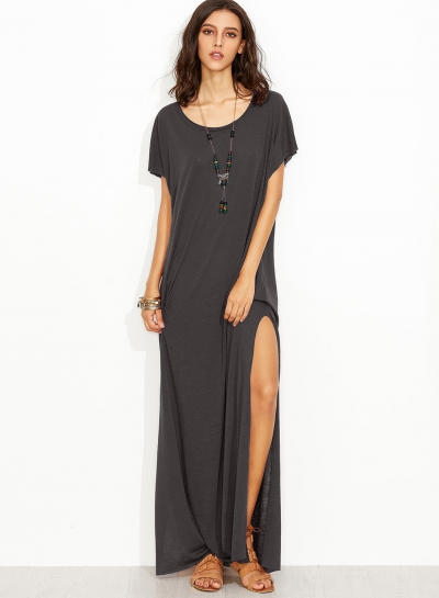 Women's Fashion Loose Fit Maxi Tee Dress with Pocket