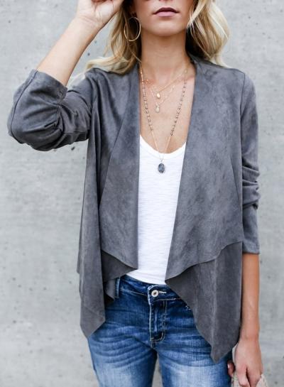 Women's Solid Open Front Long Sleeve PU Coat
