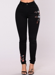 Women's Casual High Waist Bodycon Floral Embroidery Pants