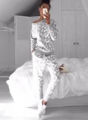 Speckle Print Round Neck Sweatshirt Pants Set