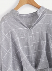 Casual Stand Collar Long Sleeve Plaid Pullover Blouse