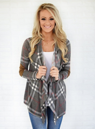 Fashion Long Sleeve Plaid Cardigan