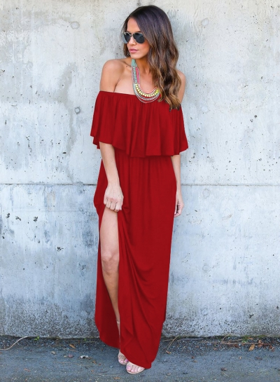 Solid Slash Neck Off Shoulder High Slit Maxi Dress