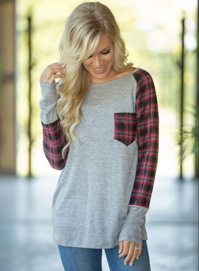 Casual Round Neck Long Sleeve Plaid Printed Top