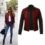 Long Sleeve Color Block Cotton-padded Jacket