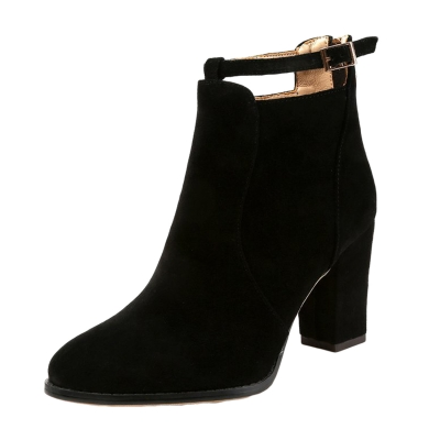 Buckle Strap Block Heels Solid Boots