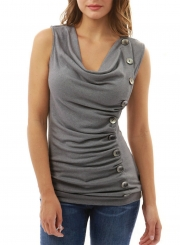 Casual V Neck Sleeveless Solid Color Tank Top