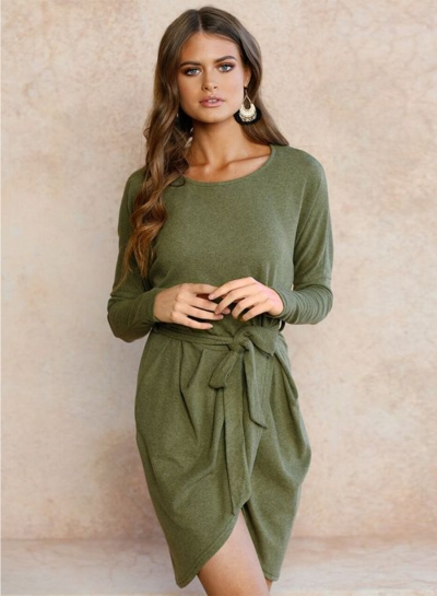 Long Sleeve Irregular Dress with Belt