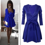 Fashion V Neck Long Sleeve Bow Detail A-line Dress