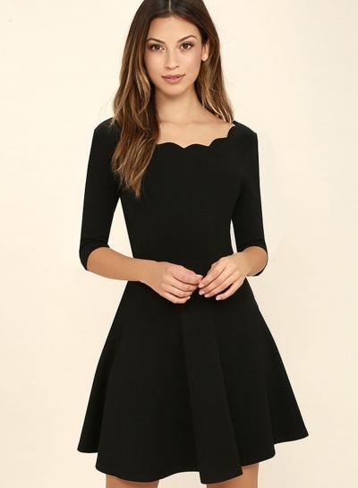 Solid Half Sleeve A-line Dress
