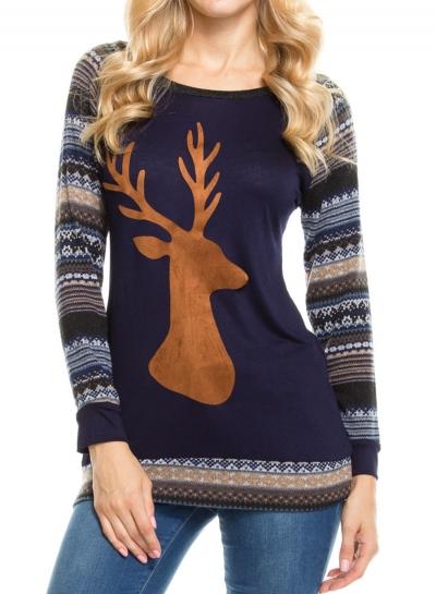 Long Sleeve Deer Head Print Tee Shirt