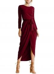 Elegant Solid Long Sleeve Dress with Belt