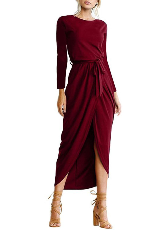elegant solid long sleeve dress with belt stylesimo com