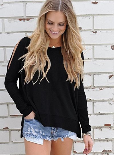 Round Neck Off Shoulder Knit Tee Shirt