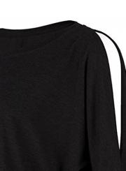 Round Neck Off Shoulder Knit Tee Shirt