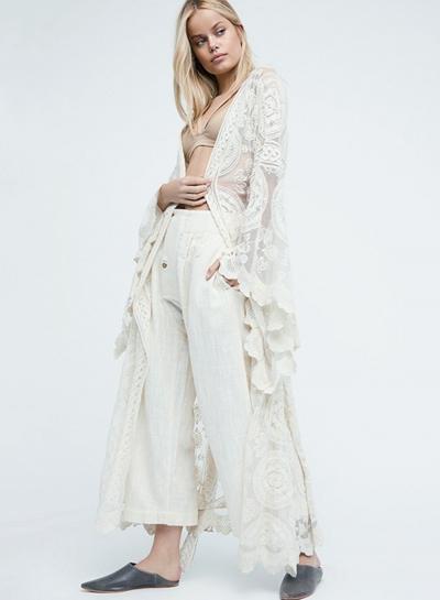 Bohemian Lace Long Sleeve Open Front Kimono STYLESIMO.com