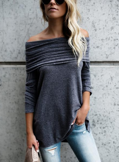 Solid Pleated Slash Neck Long Sleeve Knit Tee Shirt