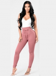 Casual High Waist Solid Color Lace Up Leggings