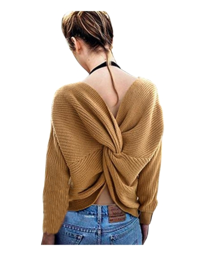 Fashion V Neck Back knot Loose Fit Sweater